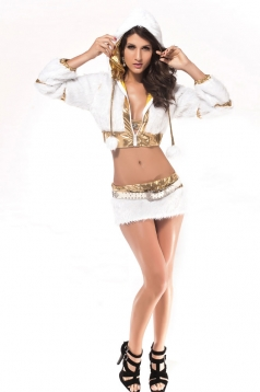 3/4 Length Sleeve White Fur Gold Trim Santas Helper Costume with Belt