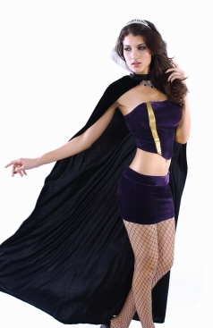Purple Deluxe Queen Satin Tube Top & Skirt