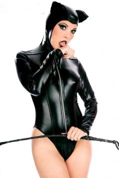Fancy Black Leather Bodysuit Catwomen Halloween Cosplay Costume