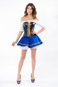 White Off Shoulder Corset Top Blue Bottom Fairytale Costume