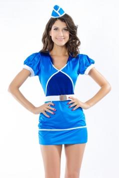 Blue Clipper Womens Air Stewardess Costume