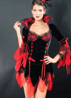 Gorgeous Womens Lace Trim Sexy Vampire Halloween Costume