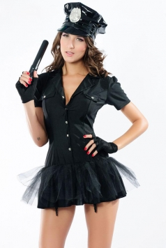 Sexy Womens Police Officer Baton Fancy Dress Costume with Hat