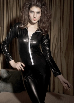 Front Ziper Leather Lingerie Black Vinyl Dress