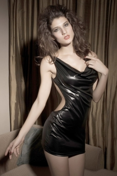 Robe Courte Vinyl Lingerie Black Dress