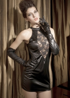Robe Courte Zoe Black Leather Lingerie