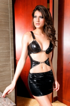 Punk Stripper Dress Black Vinyl Leather Lingerie