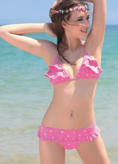Cut White Spot Pink Bikini