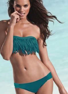 Tint Teal Strapless Fringe 2/pc Bikini