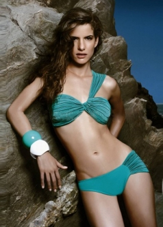 Green Fashion Wrinkled One-Strap Bikini