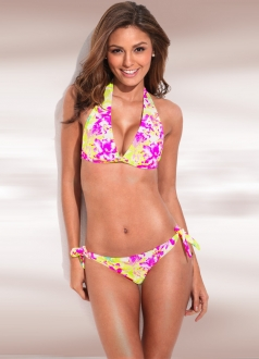 Flower Print Push Up Top & Side Tie Bikini Bottom