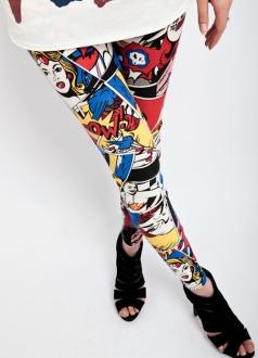 Super Girl Cute Comic Book Print Leggings