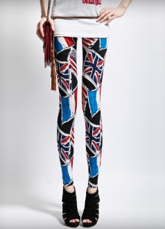 Blue British Flag Print Leggings