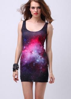 Red Galaxy Vest Dress