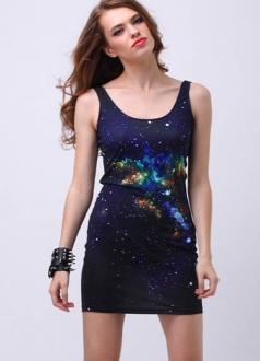 Midnight Deep Blue Sky Galaxy Sundress