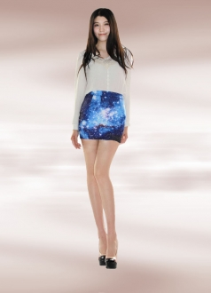 Blue Starry Sky Galaxy Pencil Skirt