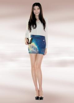 Cosmos Aquamarine Galaxy Pencil Skirt