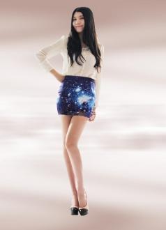 Midnight Blue Sky Galaxy Print Mini Dress