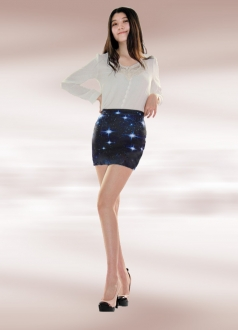 Light Blue Cosmos Galaxy Pencil Skirt