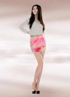 Pink Cloud Pencil Skirt