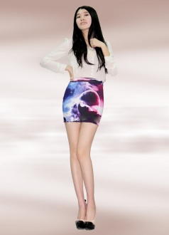 Purple Planet Print Galaxy Pencil Skirt