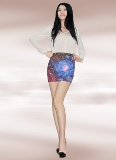 Blue Cosmos Start Print Galaxy Pencil Skirt