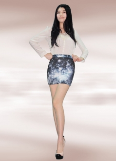 Black Night White Cloud Galaxy Pencil Skirt