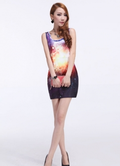 Purple Night Galaxy Print Sundress