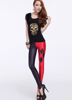 Joker Print Red And Black Wet Look Shiny Leggings
