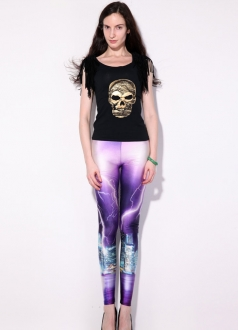 Purple Space Lightning Print Galaxy Leggings
