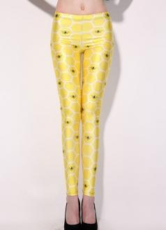 Yellow Bubble Bee Animal Print Leggings