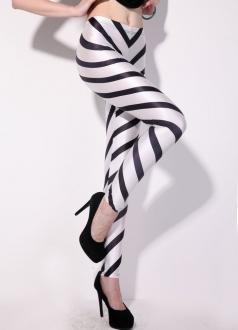 Black and White Striped Womens Zebra Printed Leggings