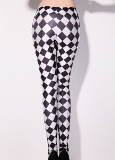 Sexy Black and White Grid Print Leggings