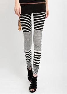 Gorgeous Winter Womens Black and White Striped Leggings