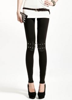 Womens Black Knee Rivets Leather Splice Studded Leggings