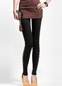 Fashion Black Sides Rivets Studded Leggings