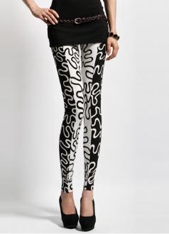 Black Line Graffiti Stripe Leggings