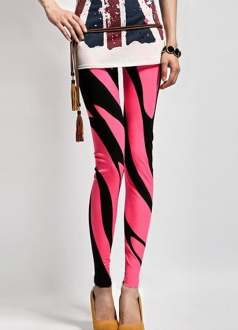 Womens Hot Striped Red and Black Print Leggings