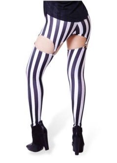 Black And White Striped Print Garter Tights Suspender Leggings