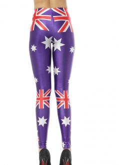 Purple Australia Flag and Stars Print Leggings