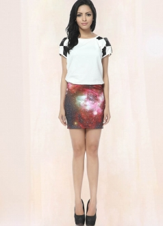 Fresh Red Galaxy Pencil Skirt