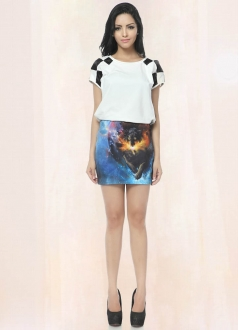 Wolf Printed Blue Galaxy Pencil Skirt