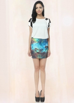 Sky Blue Galaxy Pencil Skirt