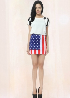 Stars and Stripes Printed Pencil Skirt