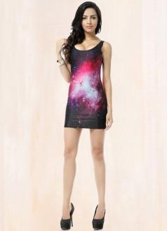 Red Round Collar Sleeveless Galaxy Dress