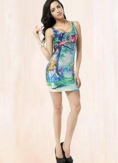 Wathet Fairy Tale Painting Print Dress