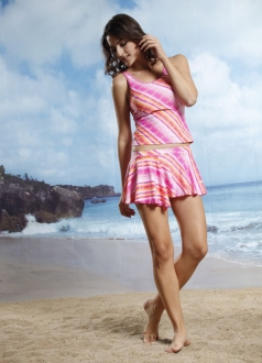 Pink Grid Stripe Skirted Swimsuit