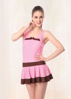 Pink Skirted Swimsuit with White Spots