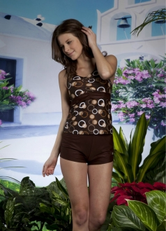 Brown Tankini Set with Circles and Dots