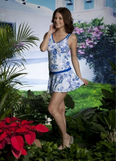 Blue V-neck Floral Skirted Swimsuit